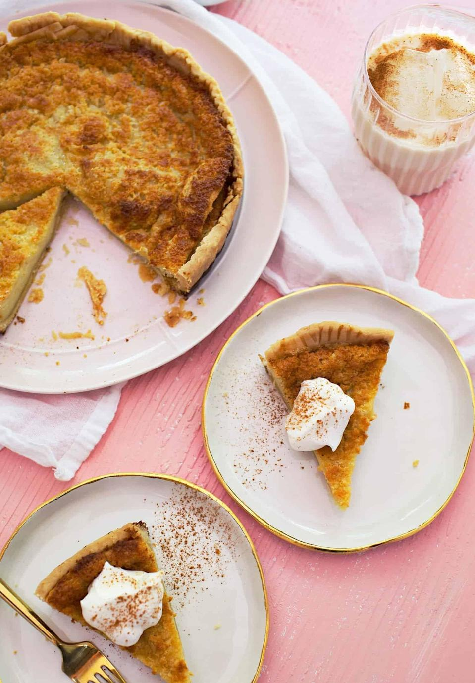 "<p>Sweet, rich, and perfectly spiced, this horchata pie is dangerously delicious. With notes of cinnamon and cream, you won't be able to get enough.</p> <p><strong>Get the recipe:</strong> <a href=""https://abeautifulmess.com/horchata-custard-pie/"" class=""link rapid-noclick-resp"" rel=""nofollow noopener"" target=""_blank"" data-ylk=""slk:horchata custard pie"">horchata custard pie</a></p>"