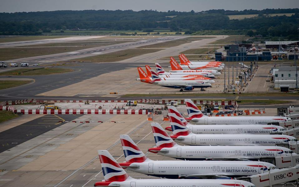 Aeroplanes standing at airport