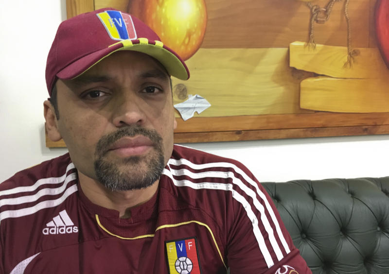 "This Nov. 8, 2019 photo shows Lt. Col. Illich Sanchez, part of a group of Venezuela troops holed up for seven months in a foreign embassy after revolting against President Nicolas Maduro in an April uprising, sitting inside Panama's Embassy in Caracas, Venezuela. ""When I gathered my troops at 2 a.m. and told them we were going to liberate Venezuela they broke down in tears,"" said Sanchez, who commanded a garrison of some 500 guardsmen charged with providing security at the presidential palace, congress and supreme court. ""Nobody saw it coming, but they were all immediately committed."" (AP Photo)"