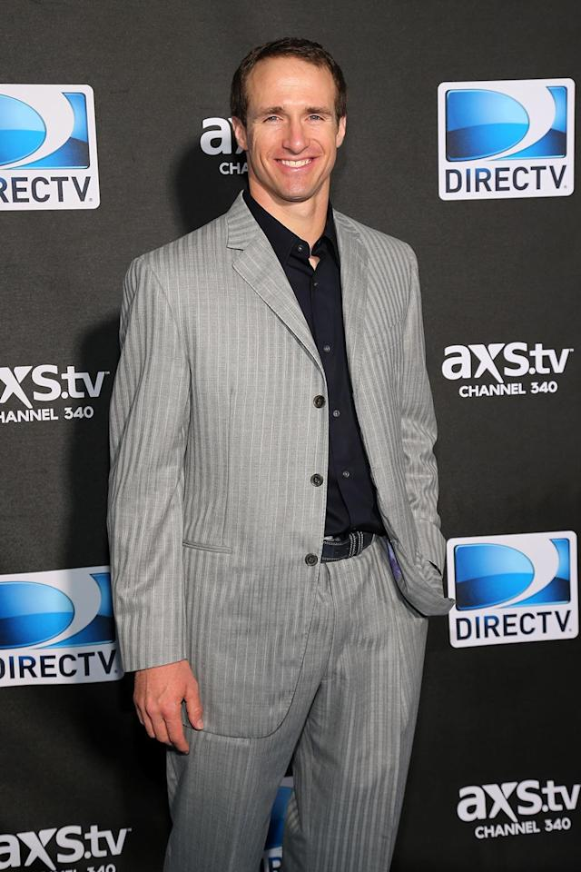 NFL player Drew Brees attends DIRECTV Super Saturday Night Featuring Special Guest Justin Timberlake & Co-Hosted By Mark Cuban's AXS TV on February 2, 2013 in New Orleans, Louisiana. (Photo by Neilson Barnard/Getty Images for DirecTV)