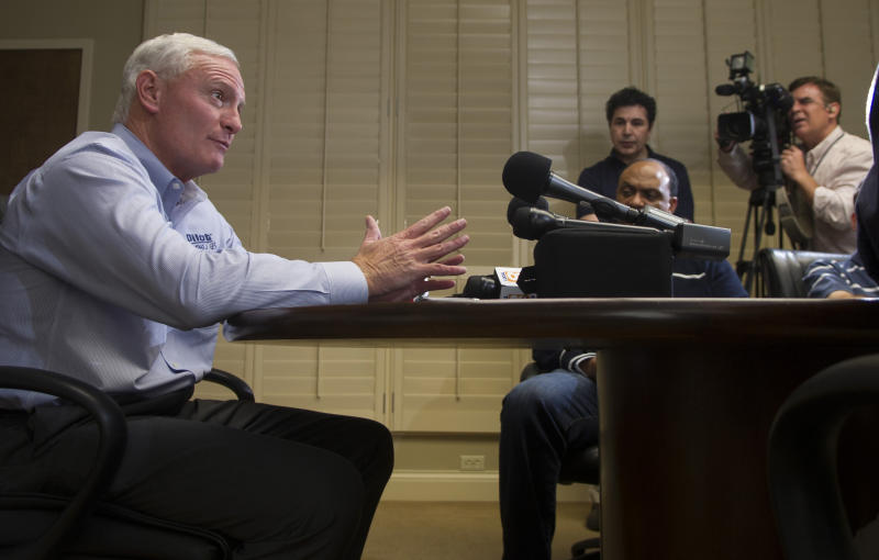 Pilot Flying J CEO Jimmy Haslam speaks to the media during a news conference at the Pilot Flying J headquarters Tuesday, April 16, 2013, in Knoxville, Tenn. Haslam said FBI and IRS raid Monday on the company was part of a federal criminal investigation into claims of failure to pay rebates to trucking customers. (AP Photo/Knoxville News Sentinel, J. Miles Cary)