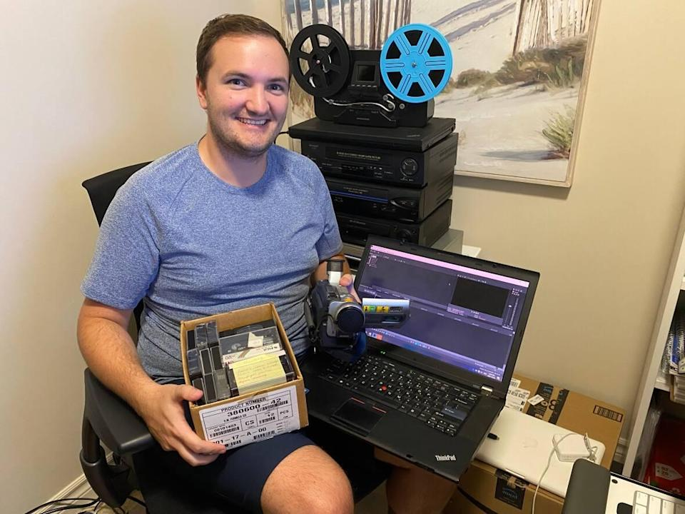 Joel Kennedy, 25, started his media conversion business during the pandemic and he's kept busy thanks to high demand for the service.  (Submitted by Joel Kennedy - image credit)