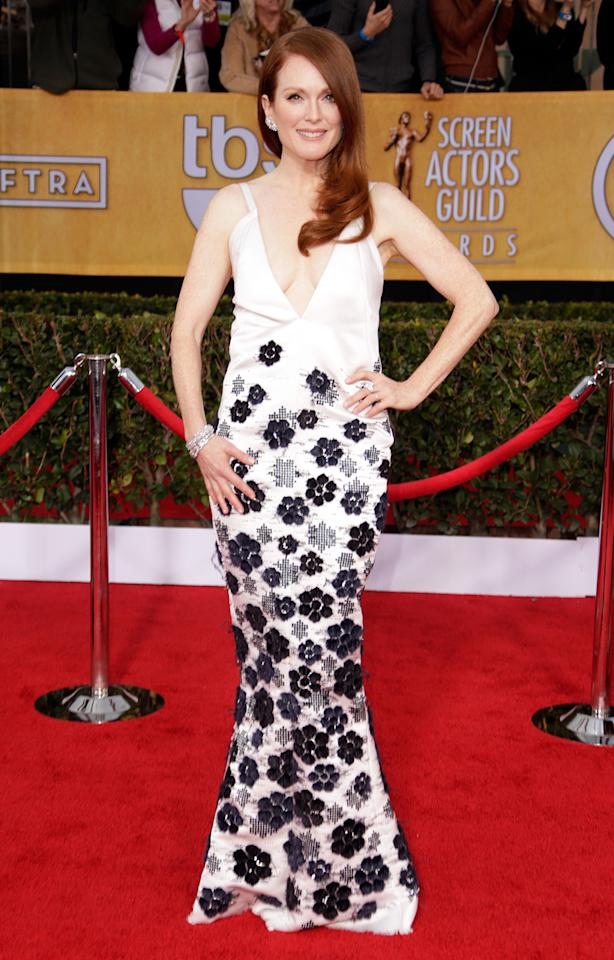 Julianne Moore arrives at the 19th Annual Screen Actors Guild Awards at the Shrine Auditorium in Los Angeles, CA on January 27, 2013.