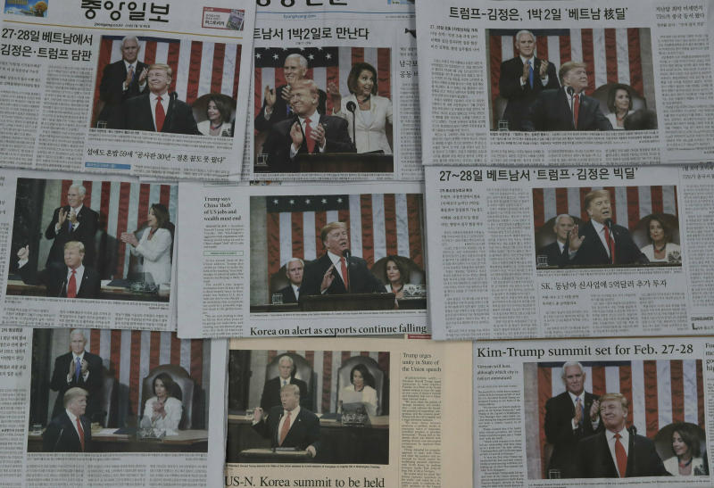 Newspapers' front pages showing U.S. President Donald Trump delivering his State of the Union address, are seen in Seoul, South Korea, Thursday, Feb. 7, 2019. With the next meeting between Trump and North Korean leader Kim Jong Un set for Feb. 27-28 in Vietnam, there's hope and caution in South Korea on whether the leaders could agree to tangible steps toward reducing the North's nuclear threat after a year of soaring but fruitless talks. (AP Photo/Lee Jin-man)