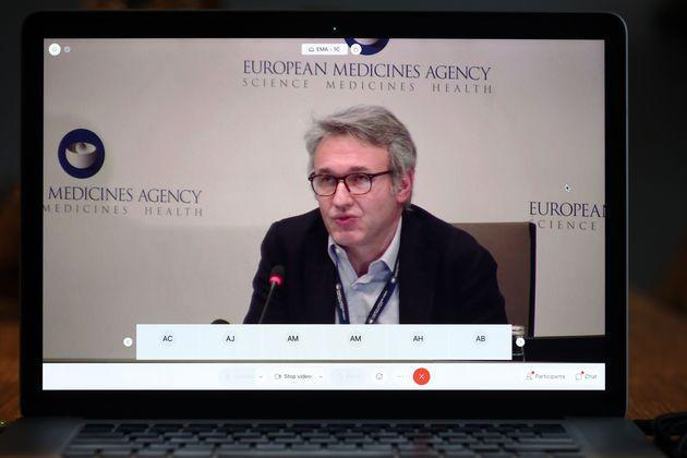 A screen grab from laptop shows Marco Cavaleri, Head of Biological Health Threats and Vaccines Strategy, explains the approval of the Pfizer / BioNTech vaccine, during an online press conference in Amsterdam, The Netherlands, on December 21, 2020. - The Amsterdam-based regulator dramatically moved the decision on the jab ahead from December 29, following pressure to accelerate the process from Germany and other EU states. (Photo by Pieter Stam de Jonge / ANP / AFP) (Photo by PIETER STAM DE JONGE/ANP/AFP via Getty Images) (Photo: PIETER STAM DE JONGE via Getty Images)