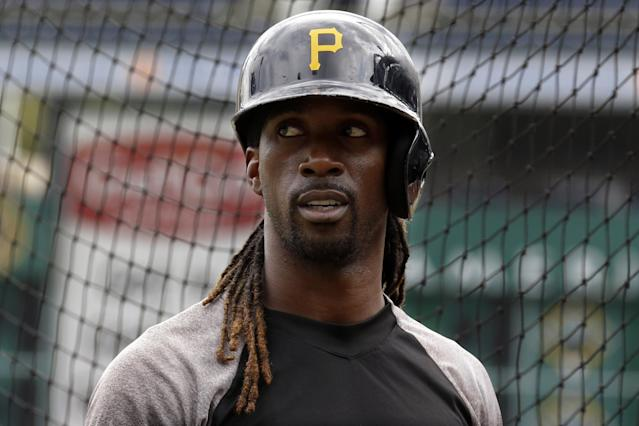 Pittsburgh Pirates' Andrew McCutchen waits his turn in the batting cage during a baseball workout in Pittsburgh Saturday, Oct. 5, 2013. The Pirates are scheduled to play the St. Louis Cardinals in Game 3 of the National League division series on Sunday. (AP Photo/Gene J. Puskar)