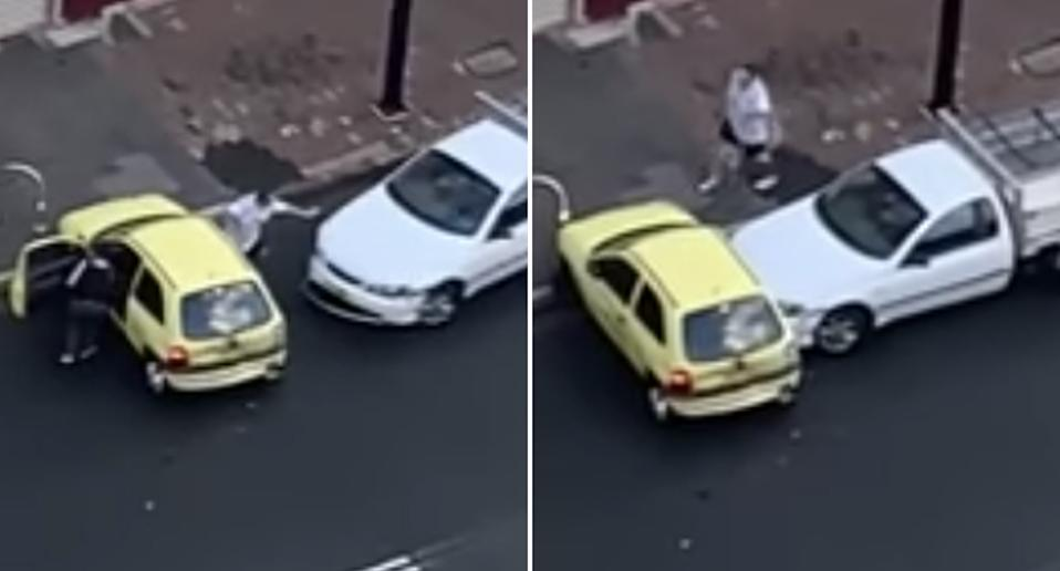 A white Ford ute rams a Holden Barina in Newcastle.