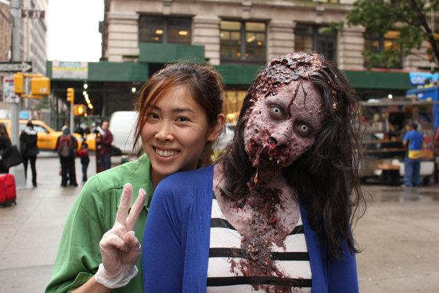 Makeup artist Sue Lee with one of her undead creations (Thinkmodo)