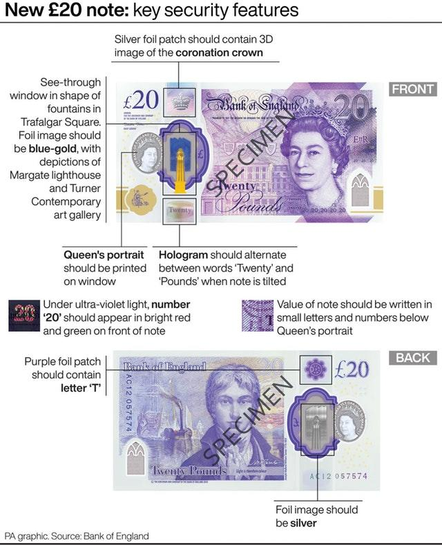 Bank of England releases new 20 pound note