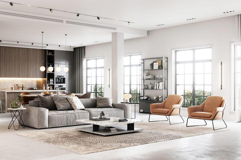 Open Layout Modern Kitchen and Living Room