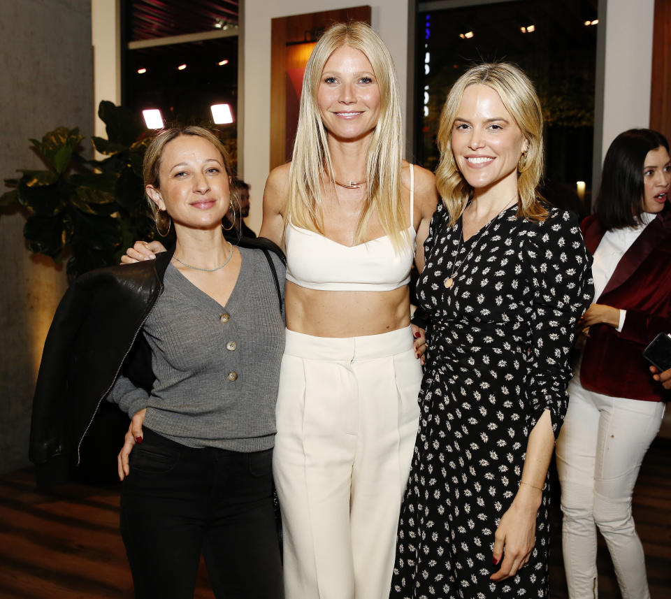 LOS ANGELES, CALIFORNIA - JANUARY 21: (L-R) Jennifer Meyer, Gwyneth Paltrow and guest attend the goop lab Special Screening in Los Angeles, California on January 21, 2020. (Photo by Rachel Murray/Getty Images)