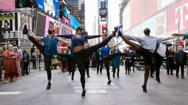 PHOTO: Dancers from Broadway shows perform in New York's Times Square, March 12, 2021. (Mark Lennihan/AP, FILE)
