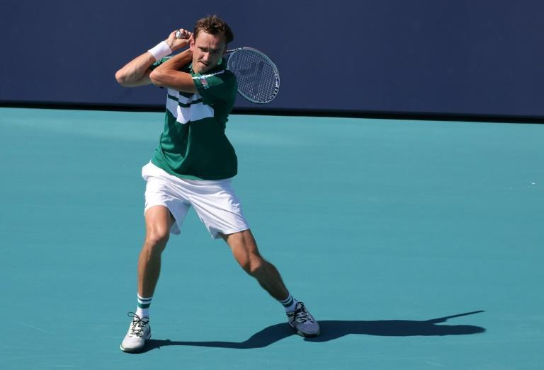 Russian top seed Daniil Medvedev on the way to a second-round victory over Taiwan's Lu Yen-Hsun in the Miami Open ATP and WTA hardcourt tennis tournament