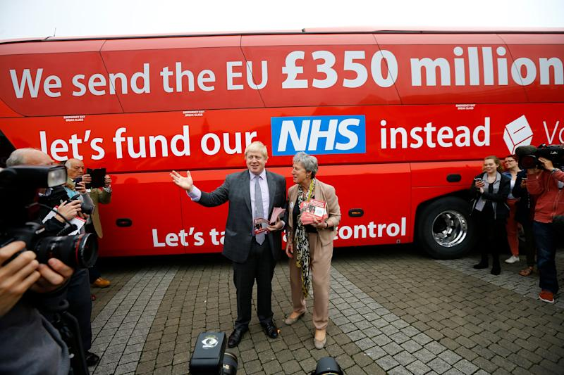 Boris Johnson speaks at the launch of the Vote Leave bus campaign in Truro, England, in May 2016. (Photo: Darren Staples / Reuters)