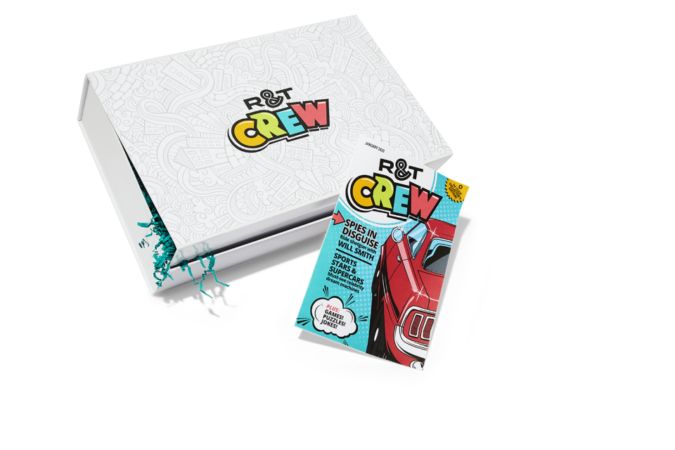 """<p>rtcrew.com</p><p><a href=""""https://rtcrew.com/pubs/HR/RTK/RTK_club_parent_child.jsp?cds_page_id=244033&cds_mag_code=RTK&id=1573854018194&lsid=93191540181060261&vid=1"""" rel=""""nofollow noopener"""" target=""""_blank"""" data-ylk=""""slk:Shop Now"""" class=""""link rapid-noclick-resp"""">Shop Now</a></p><p><a href=""""https://www.roadandtrack.com/car-culture/a29701954/rt-crew-road-and-track-kids-club/"""" rel=""""nofollow noopener"""" target=""""_blank"""" data-ylk=""""slk:R&T Crew"""" class=""""link rapid-noclick-resp"""">R&T Crew</a> subscription box for kids includes six boxes (one delivered every other month) filled with curated car-inspired activities, exclusive merch, and a special members-only R&T Crew magazine. Budding car enthusiasts will devour this educational, informative, and entertaining gift.<br></p>"""