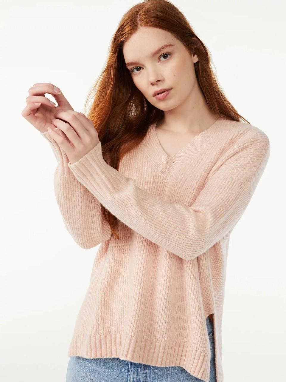 <p>If you're all about oversized silhouettes, you ought to add this <span>Free Assembly Women's Oversized V-Neck Fuzzy Cotton Sweater</span> ($24) to your virtual cart, stat.<br></p>