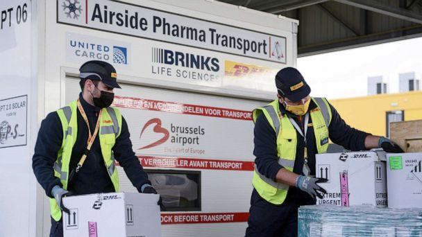 PHOTO: Workers prepare cool boxes to be transported by airplane, as Brussels International Airport prepares to transport vaccines and vaccine candidates for the coronavirus disease on Dec. 1, 2020 in Brussels. (Johanna Geron/Reuters)