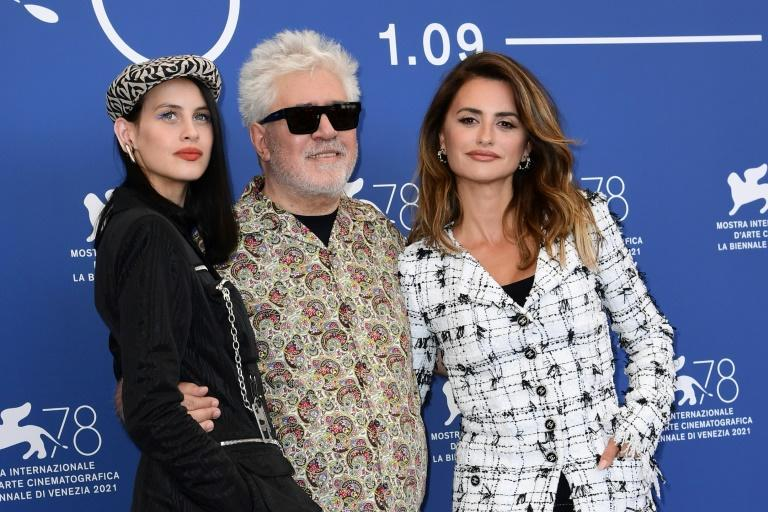 Cruz and Almodovar, seen here with 'Parallel Mothers' costar Milena Smit (left) have worked together on seven films (AFP/Miguel MEDINA)