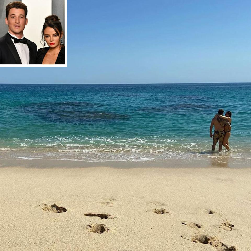 """<p><strong>Location:</strong> Los Cabos, Mexico</p> <p><em>War Dogs</em> star Miles Teller and his wife, Keleigh Sperry, celebrated his 33rd birthday with a romantic getaway to Los Cabos, Mexico. The couple stayed at <a href=""""https://www.oneandonlyresorts.com/palmilla"""" rel=""""nofollow noopener"""" target=""""_blank"""" data-ylk=""""slk:the luxury resort"""" class=""""link rapid-noclick-resp"""">the luxury resort</a> and went swimming in both the pool and the ocean. They were also spotted dining al fresco at Mexican-Mediterranean restaurant AGUA while taking in the ocean views.</p>"""
