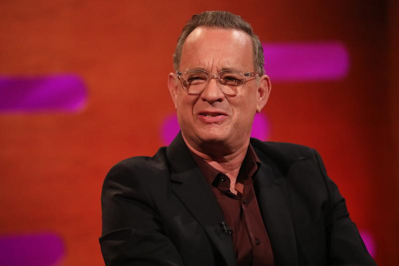 Tom Hanks during the filming for the Graham Norton Show at BBC Studioworks 6 Television Centre, Wood Lane, London, to be aired on BBC One on Friday evening. (Photo by Isabel Infantes/PA Images via Getty Images)