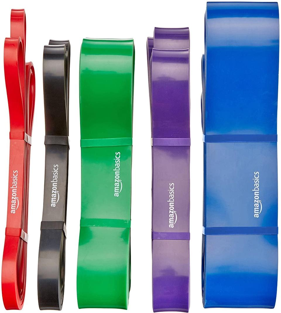 <p>You can do a variety of workouts using these <span>Amazon Basics Resistance and Pull Up Band</span> ($9-$16 each). From rows to squats, these resistance bands will give you a full body workout without taking up much space.</p>