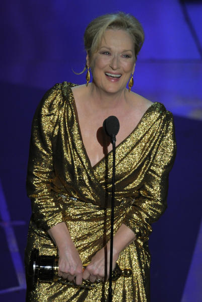 "Meryl Streep accepts the Oscar for best actress in a leading role for ""The Iron Lady"" during the 84th Academy Awards on Sunday, Feb. 26, 2012, in the Hollywood section of Los Angeles. (AP Photo/Mark J. Terrill)"