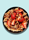 "<p><strong>Calories</strong>: 360</p><p><strong>Total Carbohydrates</strong>: 52g</p><p><strong>Saturated Fat</strong>: 2g</p><p><strong>Total Sugar</strong>: 17g</p><p>Steel-cut oatmeal packs in even more nutritional goodness than you may believe, as they're the least processed out of all the options on the market (this Cool Food Meal bowl touts 9g of fiber alone). These whole-grain carbs are sweetened with fresh fruit, but the cinnamon crunch adds in the bulk of the sugar here.</p><p><a class=""link rapid-noclick-resp"" href=""https://www.panerabread.com/en-us/menu/products/steel-cut-oatmeal-with-strawberries---pecans1.html"" rel=""nofollow noopener"" target=""_blank"" data-ylk=""slk:Order Now"">Order Now</a></p><p><strong>Nutrition Lab Pro Tip</strong>: Ask for half the regular amount of cinnamon topping here to reduce the total sugar count; in any case, don't add extra sugar before you taste, as it should be quite sweet all on its own.</p>"