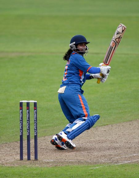 Mithali Raj of India picks up some runs during the 3rd NatWest International One Day match between England Women and India Women at The County Ground on July 5, 2012 in Taunton, England.  (Photo by Harry Engels/Getty Images)