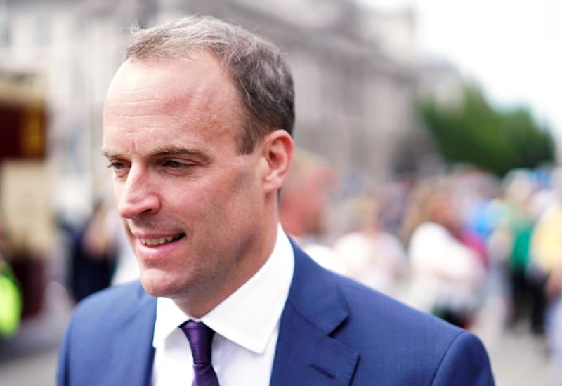 Dominic Raab, leadership candidate for Britain's Conservative Prime Minister walks near the Parliament grounds in London, Britain, June 17, 2019. REUTERS/Henry Nicholls
