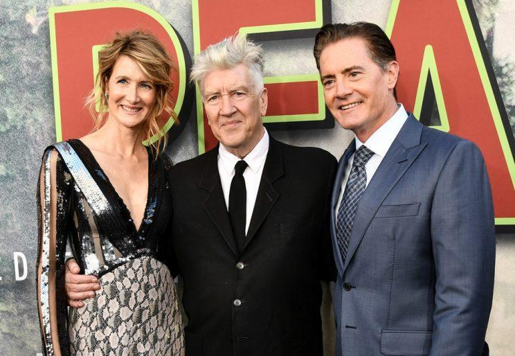 Laura Dern, David Lynch, and Kyle MacLachlan at the Twin Peaks premiere. (Photo: Showtime)