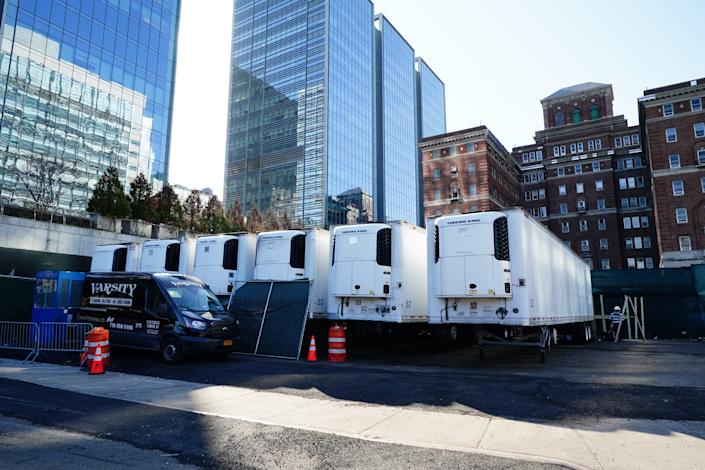 A makeshift morgue being built behind Bellevue Hospital amid the coronavirus outbreak in New York City on March 26, 2020.