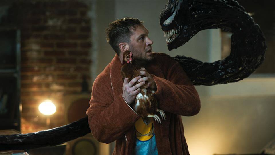 Tom Hardy as Eddie Brock in Venom: Let There Be Carnage. (Still: Sony Pictures)