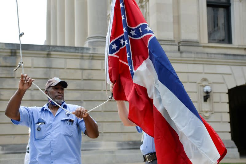 Mississippi lowers old state flag at Capitol