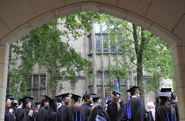 Graduates wait for commencement at Yale University (AP Photo/Jessica Hill)