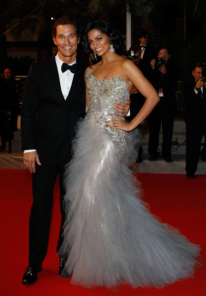 CANNES, FRANCE - MAY 26:  (L-R) Actor Matthew McConaughey and Camila Alves depart the 'Mud' Premiere during the 65th Annual Cannes Film Festival at Palais des Festivals on May 26, 2012 in Cannes, France.  (Photo by Andreas Rentz/Getty Images)