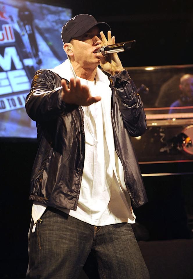 """Back in the spotlight to promote his new album, <i>Recovery</i>, Eminem, who performed at the Bowery Ballroom in New York Monday, admitted to his past prescription drug addiction, and his battle to overcome it. The rapper told """"Access Hollywood,"""" """"The biggest problem is admitting that you have a problem. Nobody wants to admit that they're not in control."""" Kevin Mazur/EM/<a href=""""http://www.wireimage.com"""" target=""""new"""">WireImage.com</a> - June 21, 2010"""