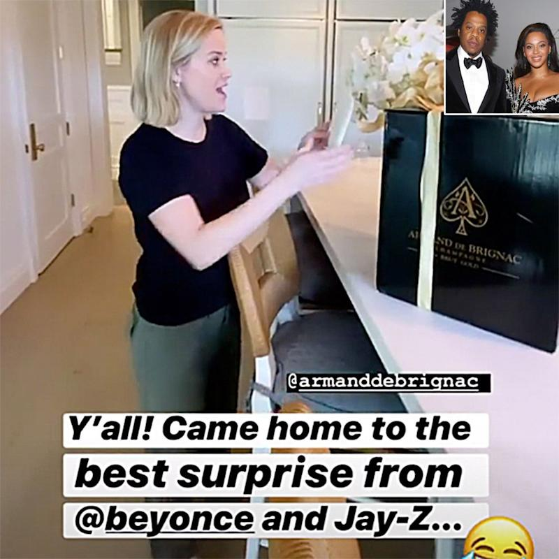 Reese Witherspoon, JAY-Z and Beyoncé (insert) | Reese Witherspoon/Instagram