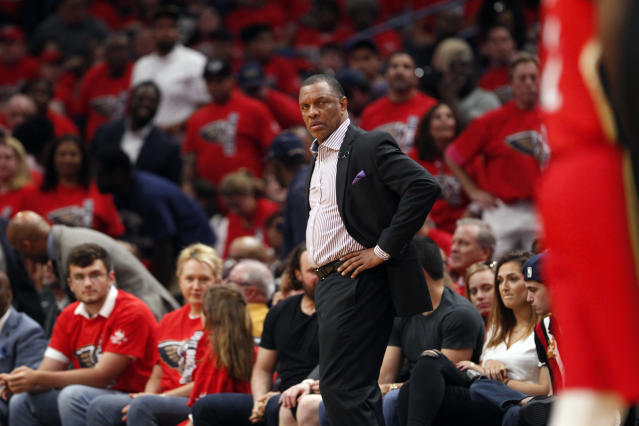 """The <a class=""""link rapid-noclick-resp"""" href=""""/nba/teams/nor"""" data-ylk=""""slk:New Orleans Pelicans"""">New Orleans Pelicans</a> picked up Alvin Gentry's $4 million option for next season, ensuring the coach who led them to the playoffs for the first time since 2015 will return next year. (AP Photo/Scott Threlkeld)"""