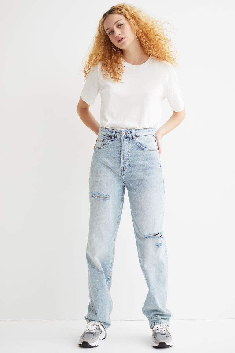 <p>These <span>H&amp;M 90s Straight High Jeans</span> ($31, originally $35) are so cool. The light wash, the oversize silhouette, and the strategically placed rips all come together beautifully.</p>