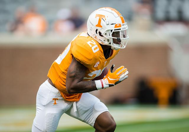 Tennessee defensive back Bryce Thompson returned to practice Wednesday, a few weeks after he was arrested. (Photo by Bryan Lynn/Icon Sportswire via Getty Images)
