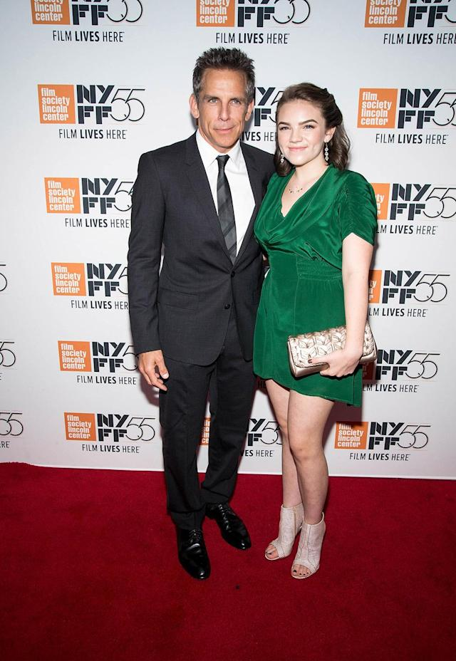 <p>The <em>Zoolander</em> star brought his daughter, 15-year-old Ella, as his date for the premiere of his new movie, <em>The</em> <em>Meyerowitz Stories</em>, during the New York Film Festival. (Photo: Paul Zimmerman/WireImage) </p>