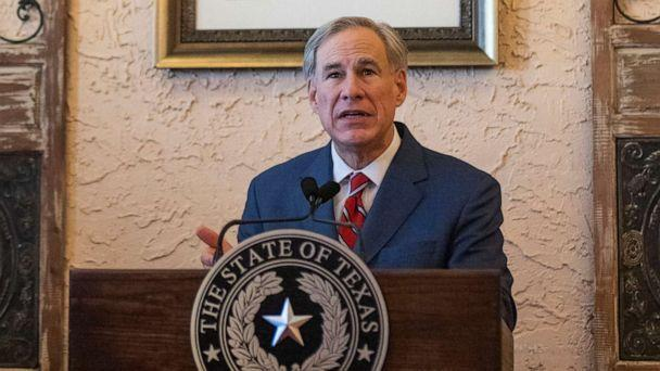PHOTO: Texas Governor Greg Abbott delivers an announcement in Montelongo's Mexican Restaurant, March 2, 2021, in Lubbock, Texas. (Justin Rex/AP)