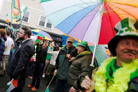 FILE PHOTO - Members of Boston Pride march down Broadway during the St. Patrick's Day Parade in South Boston, Massachusetts, U.S. on March 15, 2015.  REUTERS/Dominick Reuter/File Photo