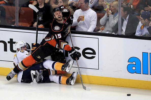 ANAHEIM, CA - APRIL 27: Game Seven of the Western Conference First Round during the 2016 NHL Stanley Cup Playoffs at the Honda Center on April 27, 2016 in Anaheim, California. (Photo by Sean M. Haffey/Getty Images)