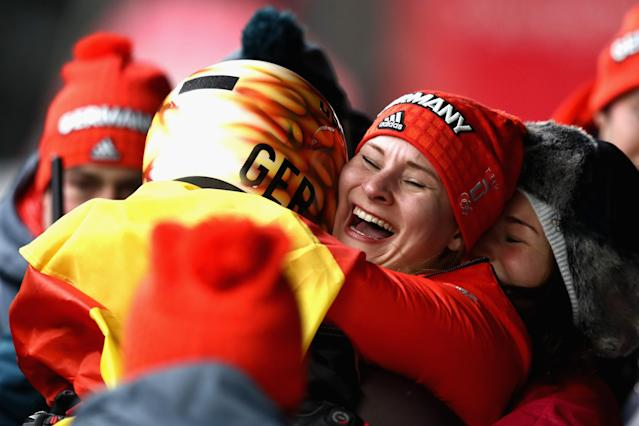 <p>Natalie Geisenberger (L) of Germany celebrates winning the gold medal with silver medalist Dajana Eitberger (R) of Germany during the Luge Women's Singles on day four of the PyeongChang 2018 Winter Olympic Games at Olympic Sliding Centre on February 13, 2018 in Pyeongchang-gun, South Korea. (Photo by Clive Mason/Getty Images) </p>