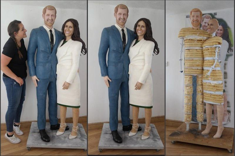 It took Lara Mason 250 hours over the last six weeks to create this life-size Prince Harry and Meghan Markle cake.