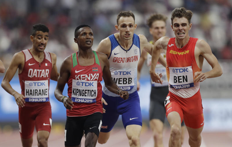 Jamal Hairane, of Qatar, Ngeno Kipngetich, of Kenya, Jamie Webb, of Great Britain and Adrian Ben, of Spain, compete in a men's 800 meter heat at the World Athletics Championships in Doha, Qatar, Saturday, Sept. 28, 2019. (AP Photo/Petr David Josek)