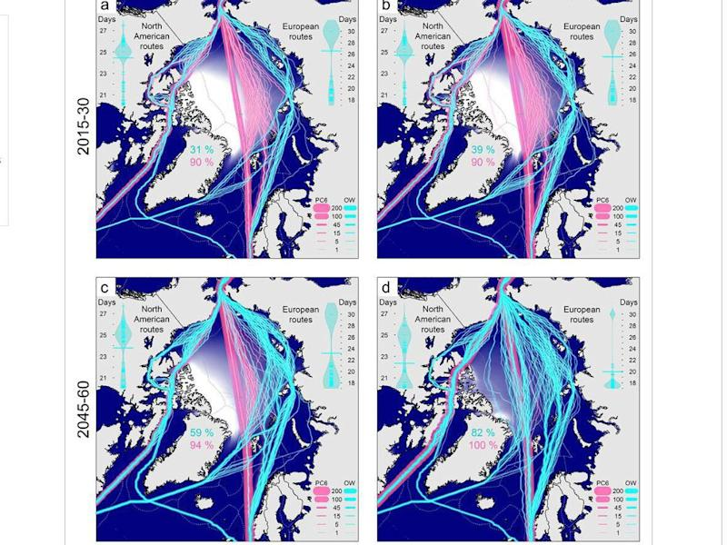 The blue lines show routes open to ordinary shipping, pink lines show ones open to ice-breakers. Maps A and B show two different climate change scenarios for 2015-30, maps C and D show the same scenarios for between 2045 and 2060: Nathaniel Melia