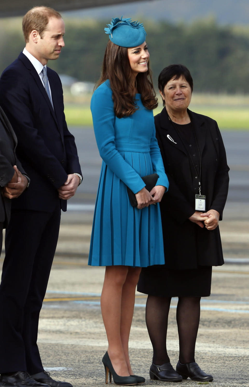 <p>For a day of engagements in New Zealand, the Duchess donned a turquoise Emilia Wickstead dress with a grey clutch and matching heels by Emmy London. Her coordinating hat was by milliner Jane Taylor. </p><p><i>[Photo: PA]</i></p>