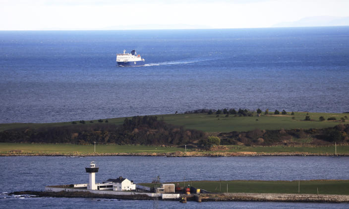 FILE - In this Jan. 1, 2021 file photo, a P&O ferry from Scotland crosses the Irish Sea making way towards the port at Larne on the north coast of Northern Ireland. Tense post-Brexit relations between Britain and the European Union face further strain on Wednesday, July 21, 2021, when the U.K. calls for major changes to trade rules agreed on by both sides, Brexit minister David Frost will set out proposals for smoothing trade arrangements for Northern Ireland, the only part of the U.K. that has a land border with the 27-nation bloc. (AP Photo/Peter Morrison, file)